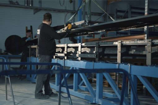 Assembly of the carbon fiber co-ordinate table of Prima Power sheet metal cutting machine.